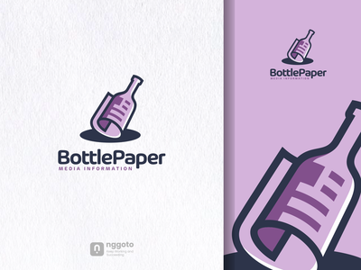 BottlePaper communication artwork dualmeaning illustration design graphic logo news paper bottle