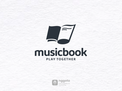 MUSICBOOK education artwork dualmeaning logo art graphic combination book music
