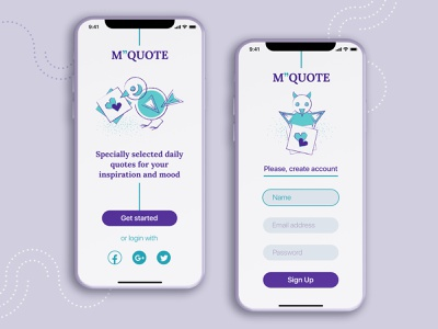 "M""QUOTE concept mobile app flat minimal green purple concept web app illustraion quote figma uiux design mobile design mobile app mobile"