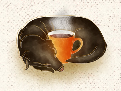 Doggo with hot coffee art creative dog doggo dogs animals cup coffee cup coffee warm cozy character design dog art illustration art character illustration design concept creative design