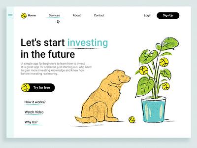 Investment App page ui ux ui lending page lending web design web app mobile app investment invest doggo dogs dod creative design illustration art illustration design concept