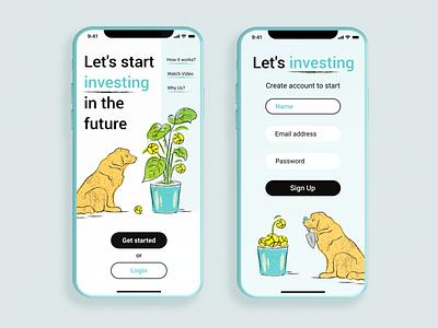 Investment App plants doggo dog investment invest investment app mobile app mobile app ui ux ui design concept illustration