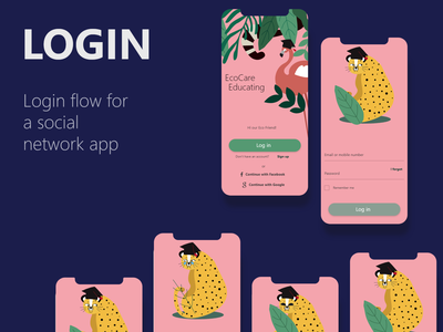 Login experience for educating app. ux ui login loginflow fun flat bright app animals animals illustrated