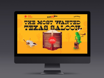 Cabooom Saloon creative site yellow cowboy texas wild west bar saloon brutalism webdesign