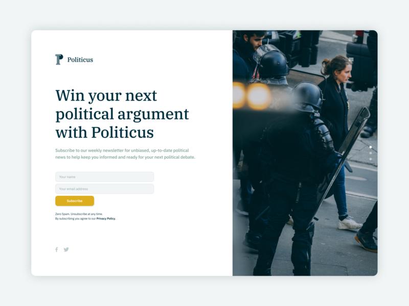 Politicus // Daily Digital Design Challenge 02 website web typography ui design ui dailydesign