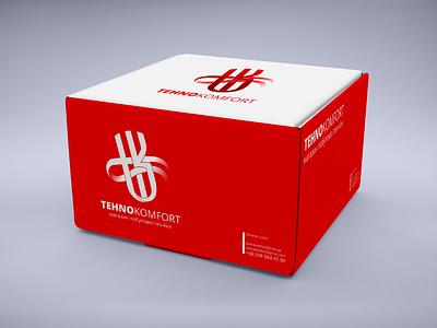 TehnoKomfort. Branding and identity. Box white red identity branding box ukraine e-commerce logo wind branding design