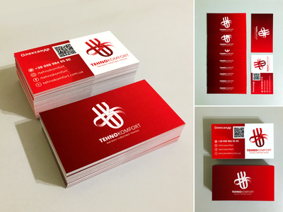 TehnoKomfort. Identity. Branded business card. identity winddesignua wind store e-commerce business card identity branding branding design