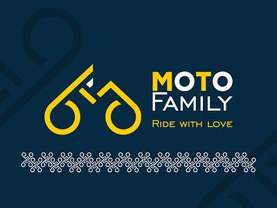 Moto family. Logo. Main version + logo pattern (2019). golden ratio motorbike logo motorbike design identity vector identity branding branding ukraine winddesignua wind logo design logo