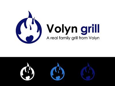 Volyn Grill. Logo style spain australia usa tasty hot fire logo fire icon stake grill design ukraine wind winddesignua logo design logo