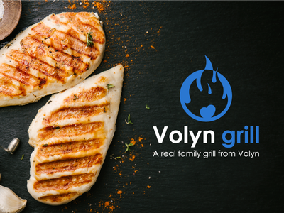 Volyn Grill. Banner & logo. ua usa uk chicken hot grill food banner fire vector winddesignua wind ukraine logo