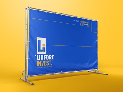 Banner with corporate identity. outdoor advertising blue banner corporate identity identity branding branding logo design winddesignua