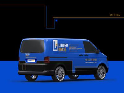 Linford invest. Car branding. ukraine bus blue track repair usa invest linford invest car branding car logo design identity branding branding winddesignua