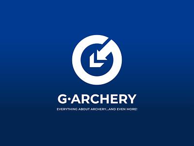 G-Archery. Logo design. design ukraine modern style native minimal pointer bow blue arrow archery info blog brand graphic design logo logo design vector branding windfall design windfall