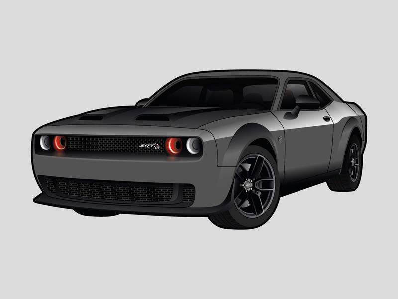 Dodge Challenger Hellcat Illustration