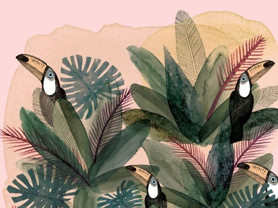 Selva animals toucans pattern illustration