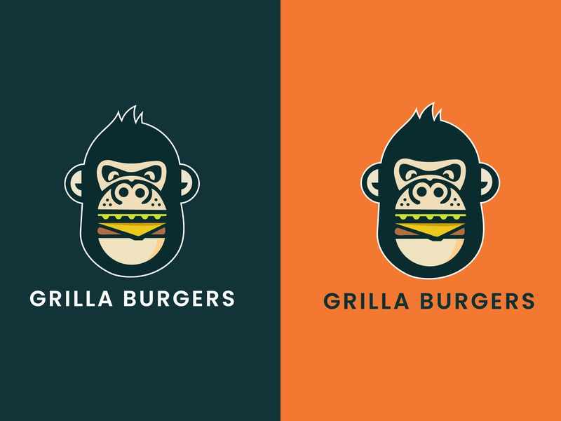 Grilla Burger design business company apps food burger logo icon head graphic gorilla creative cigarette branding boss ape animals angry