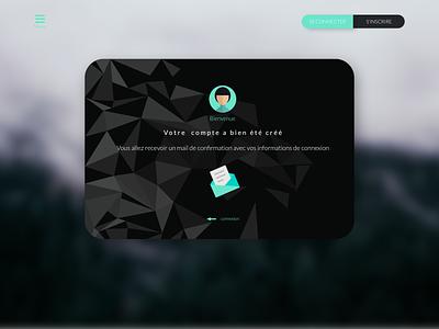 welcome message after registration affinity designer green dark ui uidesign interface design black dark ui welcome page