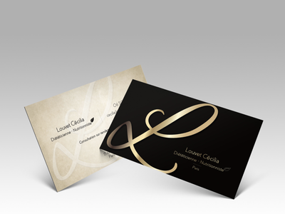 Business card for a nutritionist black gold businesscard