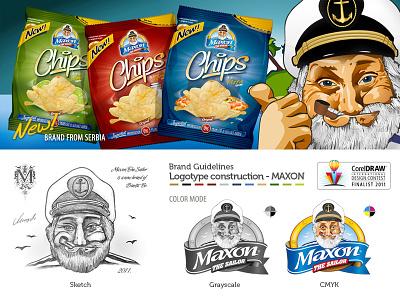 Maxon The Sailor logo packaging food pack