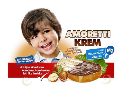 Amoretti hazelnut chocolate spread food packaging