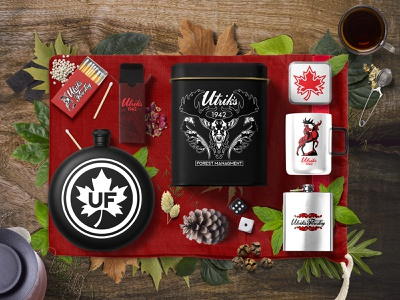 Utrik's Forestry Camping Gear Branding rebrand canada identity branding brand designer packaging designer packagingpro packaging mockup package design mockup design procreate illustration wordmark logo cursive logo icon set artboard studio branding identity badge logo elk forest camping