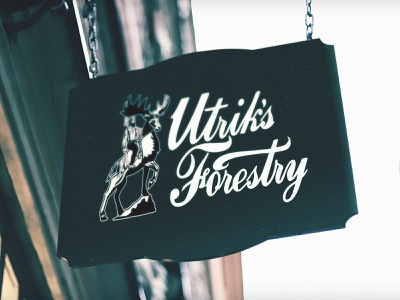 Utrik's Forestry Sign handdrawnlettering handdrawn typogaphy custom typography procreate illustration icon design environment design interior design retail design branding and identity branding logotype designer logotype wordmark custom lettering hand lettering cursive signage sign