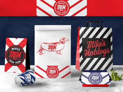 Mike's Hotdogs To Go Bags branding design brand identity brand resturant hot dog dog illustration dog logo dog stripes script lettering bag design bag to go fast food logo fast food packaging design package design packagedesign packaging package