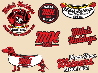 Mike's Hotdogs lockup ipadillustration cursive badge design badge logo badgedesign weiner dog hotdogs food fastfood restaurants restaurant brand design branding design agency branding and identity branding designer branding concept branding agency branding design branding