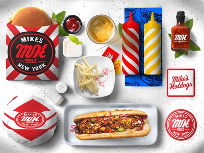 Mike's Hot Dogs Packaging design procreate burger logo packaging mockup packaging design packagingdesign packagingpro food packaging design food packaging food package packaging resturant fastfood hotdogs weiner dog weiner branding food app foodie food