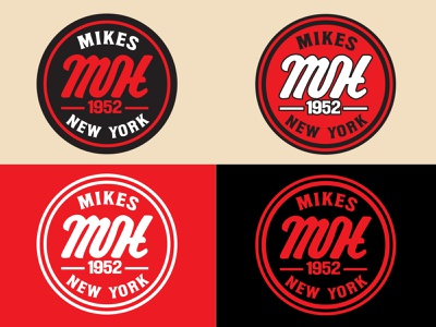 Mike's Hotdog's Badge Logo merchandise design bradning branding resturant hotdogs stamp design monogram letter mark monogram design monogram logo monograms monogram logodesign logotype logo design logo badgedesign badge logo badge design badges badge