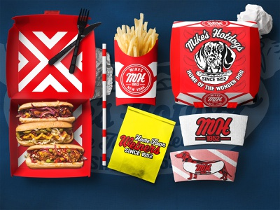 Mike's Hotdogs Restaurant Packaging branding concept brand design branding wiener dog wiener fries to go restaurant logo food packaging design food packaging packaging mockup packaging design packagingdesign packagingpro packaging hotdog hotdogs resturant food delivery food