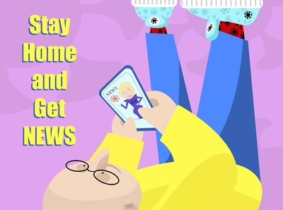 Stay Home And Get News vectorart minimalistic characterdesign illustration comic art stayhome quarantine