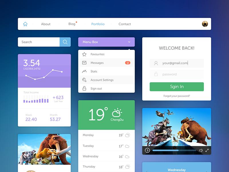 Ui Kit ui kit flat icon navigation menu player video login status calendar weather