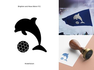 BRIGHTON AND HOVE ALBION F.C. sports logo icon crest identity design brand identity badge soccer football epl premier league cresttoicon dolphin bhafc bha brighton brighton and hove albion