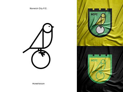 NORWICH CITY F.C. graphic design identity branding logo icon crest badge soccer football premier league cresttoicon canary bird ncfc norwich city norwich