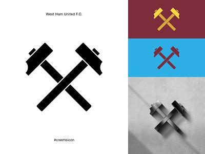 WEST HAM UNITED F.C. identity branding logo icon crest badge soccer football premier league cresttoicon east london hammers whufc west ham united