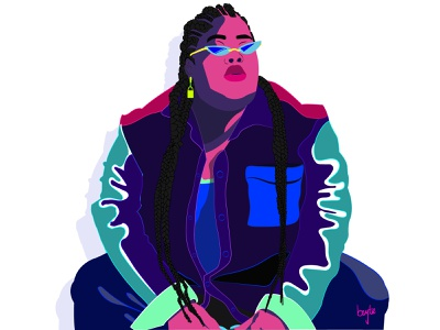 Chika photoshoot multicolor comic art comic book cartoon illustration hip hop rapper female character vector illustration female designers design