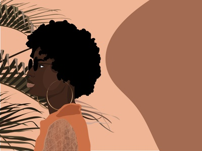 Blessing african woman afro palm tree neutrals vector cartoon illustration female designers illustration design female character