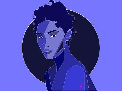 Blueberry female portrait portrait illustration portrait blue afro female designers illustration african woman cartoon illustration female character design