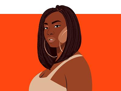 Chizi braids natural hair female portrait cartoon illustration vector african woman female character illustration female designers design