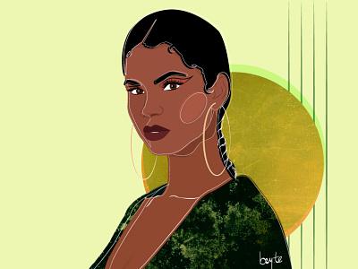 Emerald braids female portrait cartoon illustration vector illustration female designers female character design