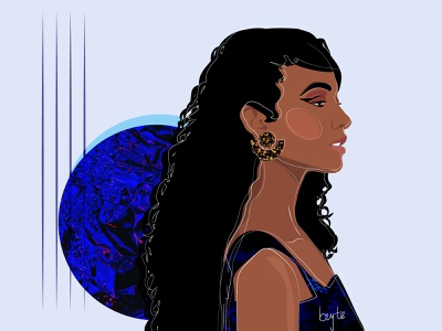 Blue afro female portrait wavy contemporary art vector blue african woman illustration female designers female character design