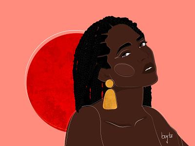 Coral braids afro cartoon illustration african woman vector female portrait illustration female designers female character design