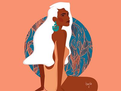 Esther contemporary art afro cartoon illustration african woman vector female portrait illustration female designers female character design