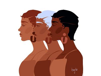 Honey contemporary art afro cartoon illustration african woman vector female portrait illustration female designers female character design