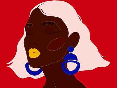 Patience powerful black woman female art bold peace african woman vector female portrait illustration female designers female character design