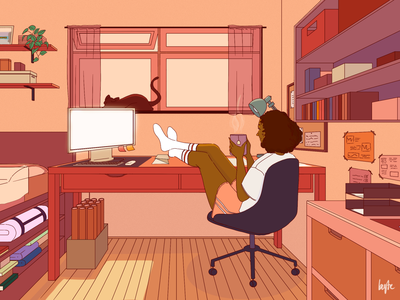 Stay Home, Stay Safe self care stay home relax music art lifestyle home plant cat bedroom chill interior indoor lofi style african woman female portrait illustration female designers female character design