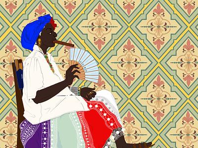 Havana floral tile pattern tile summer woman fan cuban cigars black woman design cuba pattern female portrait illustration female designers female character design