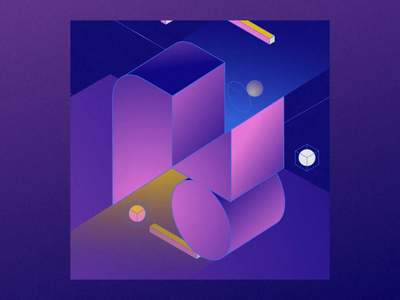 No-Code Conf 2021 - Animation shapes blocks after effects minimal no code webflow grain vector iso isometric motion graphics animation