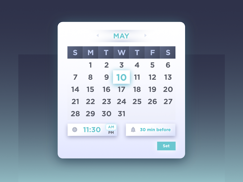 Scheduling: Start date picker modal